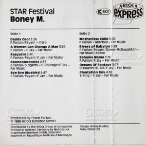 boney m star festival cassette tape mc